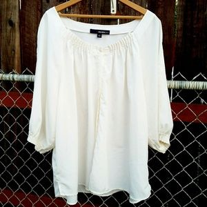 White Quarter Sleeve Loose Fitting Top Denim 24/7